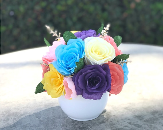 Centerpiece in a Colorful Mix of Paper Flowers - Wedding Table Decor - Colors Are Customizable