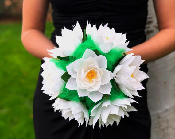 Bridal bouquet using crepe paper water lily flowers - Customizable colors