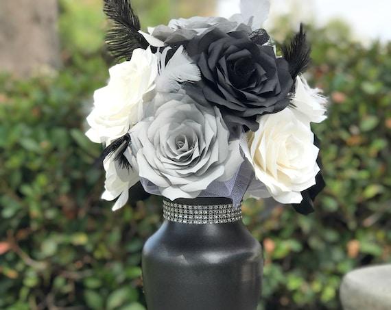 Centerpiece in Black, Gray & White Paper Roses - Reception Table Decor - Table Decor