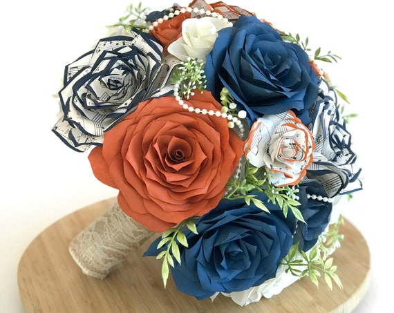Burgundy, burnt orange and navy blue filter and music note paper flower bridal bouquet in customizable colors and sizes