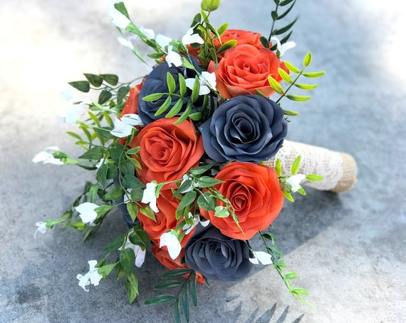 Orange and Charcoal Filter Paper Flower Bridal Bouquet  - Pictured in Orange and Charcoal Gray but colors are Customizable
