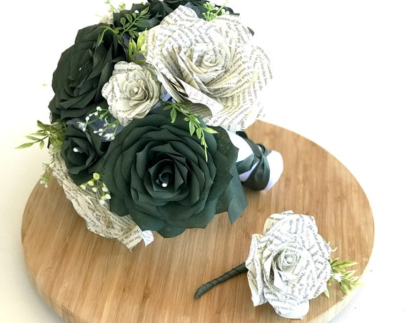 Bridal bouquet shown in forest green filter paper flowers and book page roses - Colors are customizable
