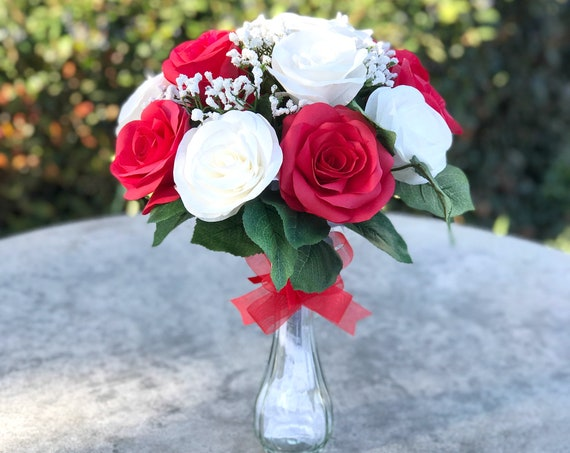 Red and White Rose Bouquet - Valentine Bouquet  - Gift bouquet