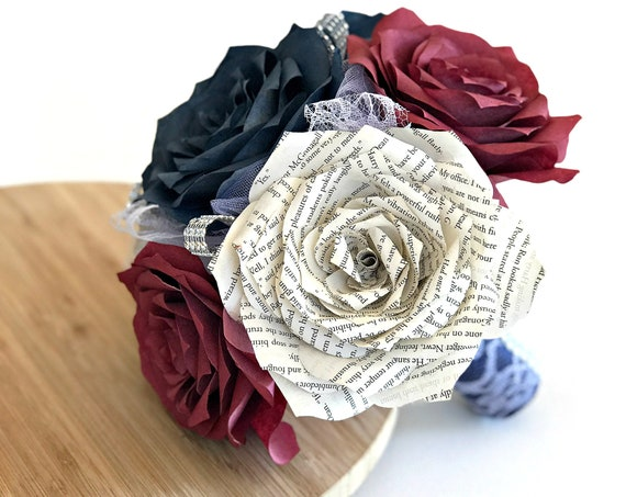 Navy blue and burgundy paper book page and filter paper rose wedding bouquet - Colors are customizable