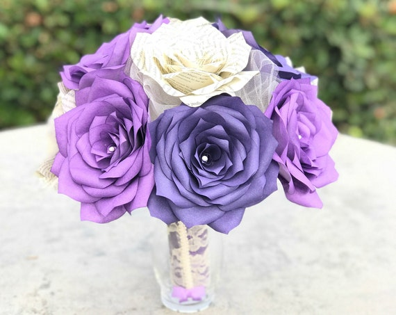Book page and shades of purple filter paper rose bridal bouquet - Colors are customizable