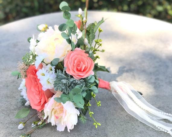 Peach silk and paper flower wedding bouquet