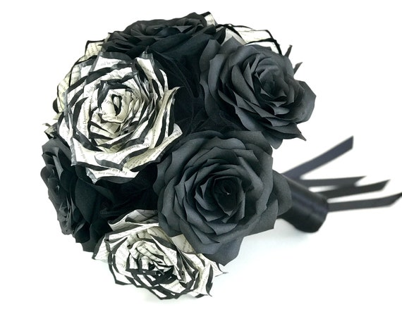 Black and white book page and filter paper rose bridal bouquet