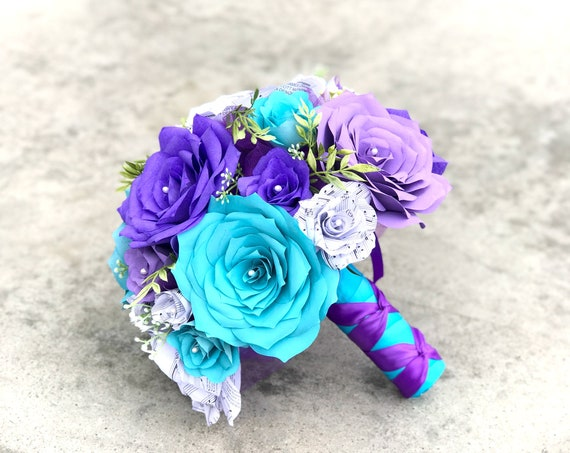 Bridal bouquet - Paper filter and music flower bouquet - Shown in turquoise and shades of purple - Colors are customizable
