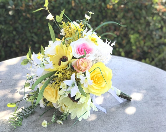Yellow silk and paper flower wedding bouquet - Sunflower alternative bridal bouquet