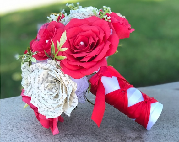 Wedding bouquet shown in red filter paper flowers and book page roses - Colors are customizable