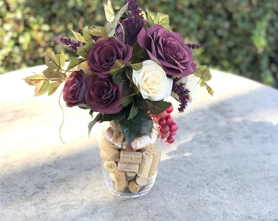 Wine Themed Centerpiece in Paper Flowers - Wine Cork Home Decor Floral Arrangement