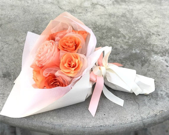 Shades of Peach and Orange Paper Flower Gift Bouquet - Get well flowers - Customizable colors