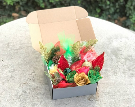 Red Green and Gold Christmas Gift Box