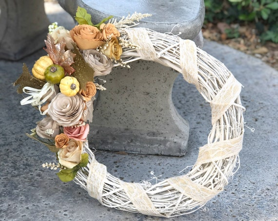 Door wreath - Paper flower country chic wreath