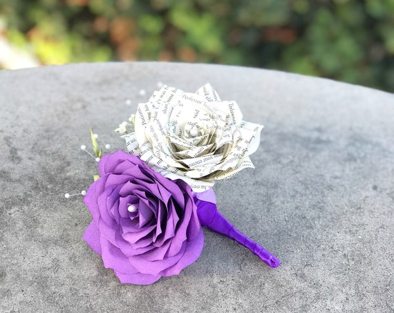 Book page and filter paper corsage/boutonniere - Choose your color