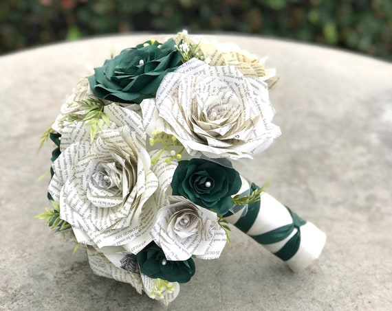 Wedding bouquet shown in forest green paper flowers and book page roses - Colors are customizable