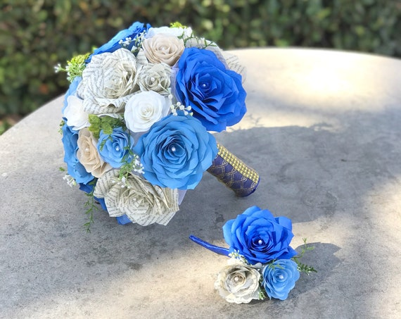 Paper bouquet in shades of blue - Customizable colors
