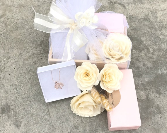 Paper Rose and Candy Gift Box - Jewelry and Candy Gift Box - Champagne Themed Present