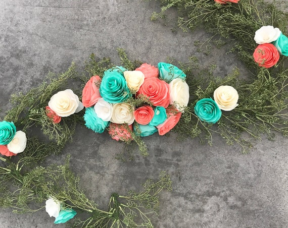 Flower garland in coral and turquoise paper flowers - Floral table runner
