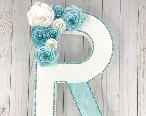 Floral letter - Aqua Paper Flower Letter - Paper Mache Floral Letter - Wedding Initial - Wedding decor - Paper flower number