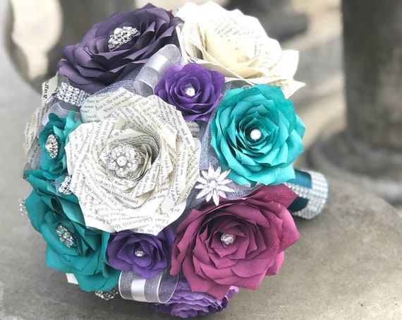 Brooch Bouquet - Book page and filter paper rose wedding bouquet - Colors are customizable