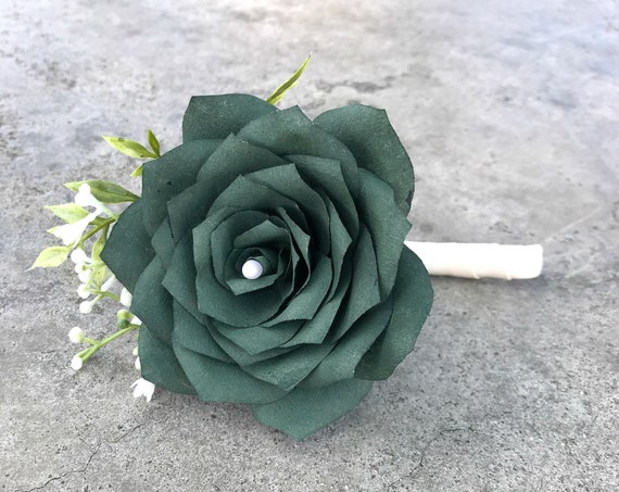 Paper rose boutonniere - Customizable colors