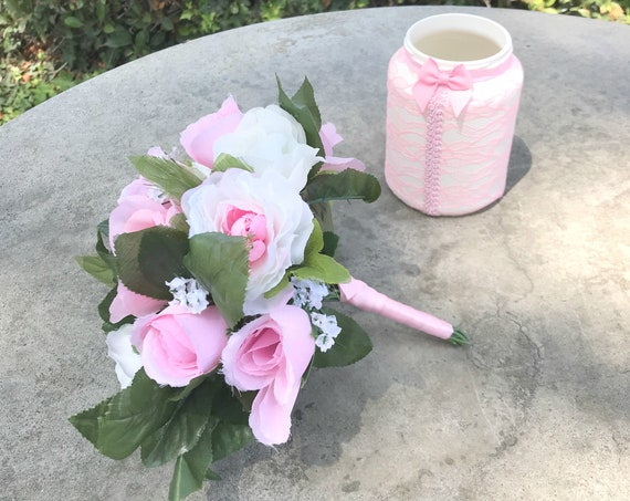 Silk flower pink wedding bouquet - Flower Girl Bouquet