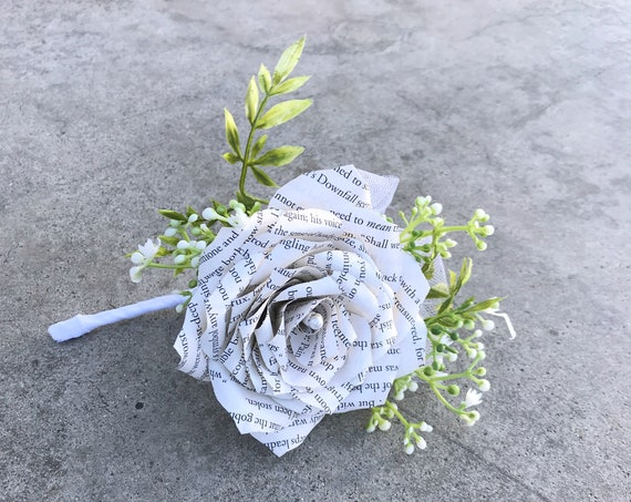 Book Page Paper Rose Boutonniere or corsage- Customizable stem colors