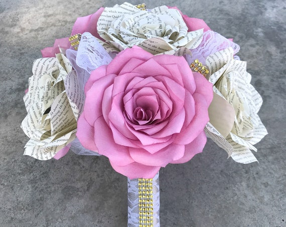 Paper book page and filter paper rose wedding bouquet - Colors are customizable