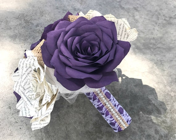 Rose bouquet shown in plum filter paper and natural book page roses with burlap accents - Colors are customizable