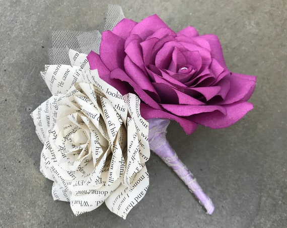Pin On Corsage or boutonniere using paper book page and filter paper roses - Customizable colors
