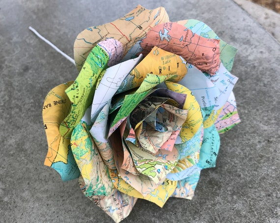 Map Paper Rose - Paper flower