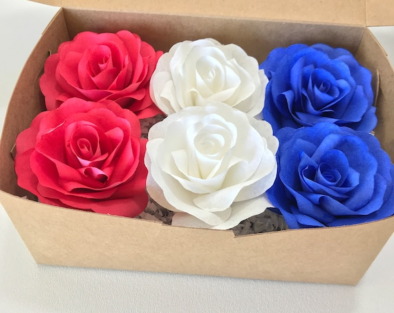 Red white and blue paper flower gift box