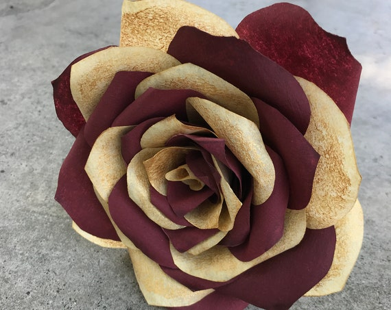Paper Rose with multicolor petals - Paper flower - Colors are customizable