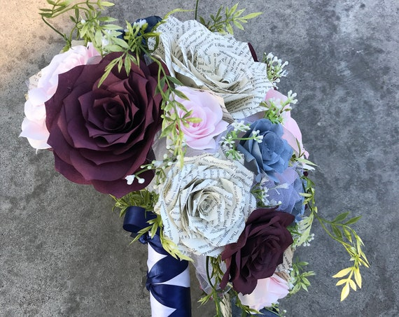 Cascading Bridal Bouquet in Wine and Blush Paper Filter Flower and Book Page Roses  - Customize your colors
