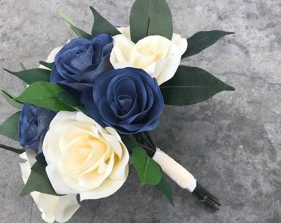 Bridal bouquet using paper filter flowers shown in navy blue and ivory - Customizable colors