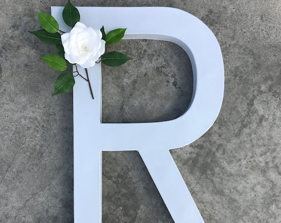 Gray and White Floral Letter - Wedding Floral initial - Nursery Decor - Customizable colors