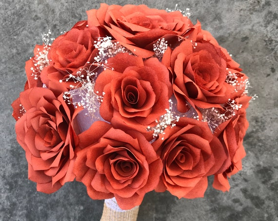 Paper Rose Wedding Bouquet - Colors can be customized