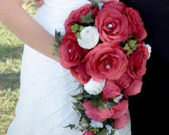 Cascading Bridal Bouquet shown in Red and White Paper Roses and Peonies - Colors are customizable