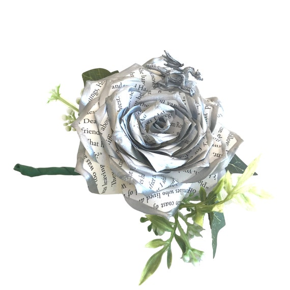 Book page paper tipped Dragon boutonnière - Choose your colors