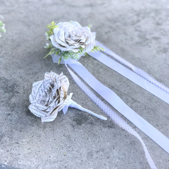 Book Page Paper Rose Boutonniere or corsage - Pin on or wrist corsage - Customizable stem colors