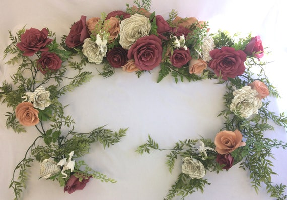 Dragon paper flower arch or table runner - Floral garland using burgundy and rose gold paper flowers