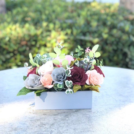 Centerpiece in burgundy, gray and peach paper flowers