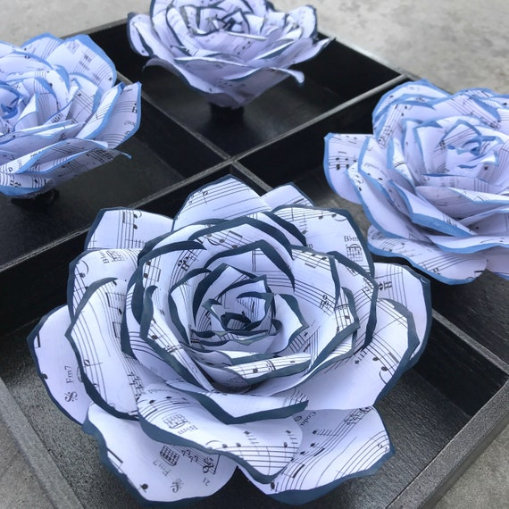 Home Decor 3D Handcrafted Paper Flower Art - Music Note Paper Rose Decor - Customizable colors