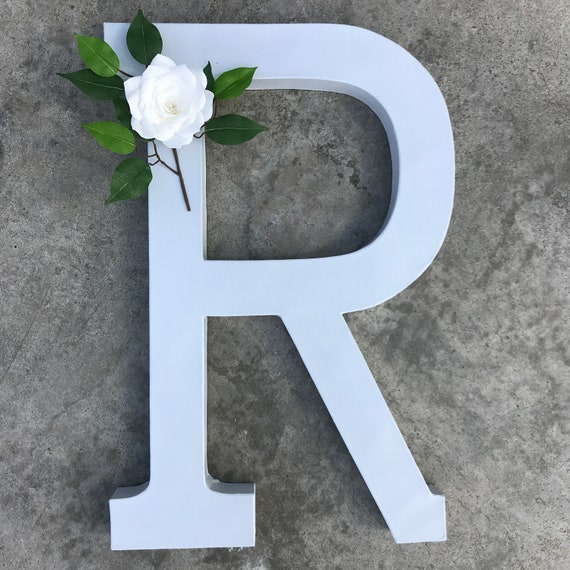 Flower letter in gray with a handmade white paper flower - Floral initial 23 inch