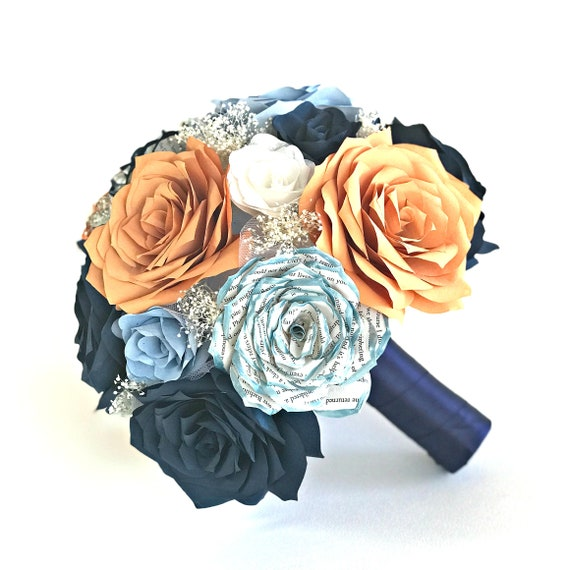 Bridal bouquet in orange, navy blue and gray filter paper roses with tipped book page roses - Customizable colors