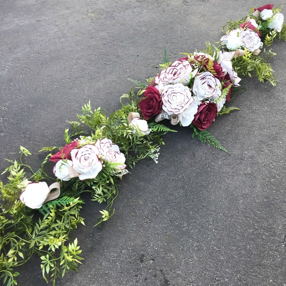 Flower Garland using handcrafted paper flowers - Table Runner or Arch - Customizable Colors