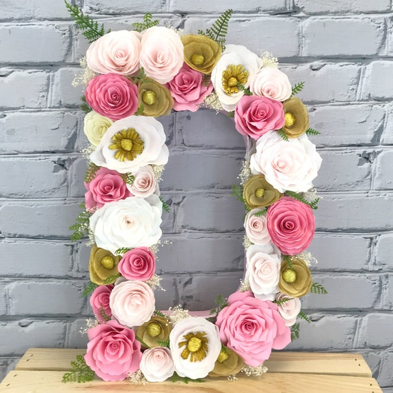 Pink, Gold and Blush Paper Flower Letter or Number