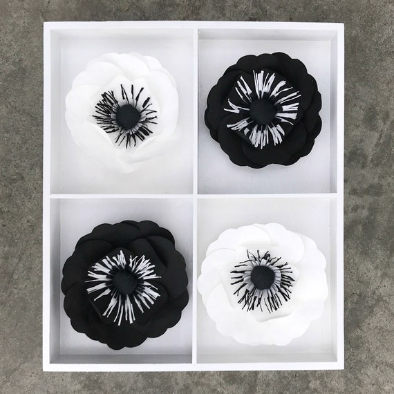 Black & White 3D Handcrafted Paper Flower Art for Wall Decor, Desk or Shelf - Gift - 2 size choices