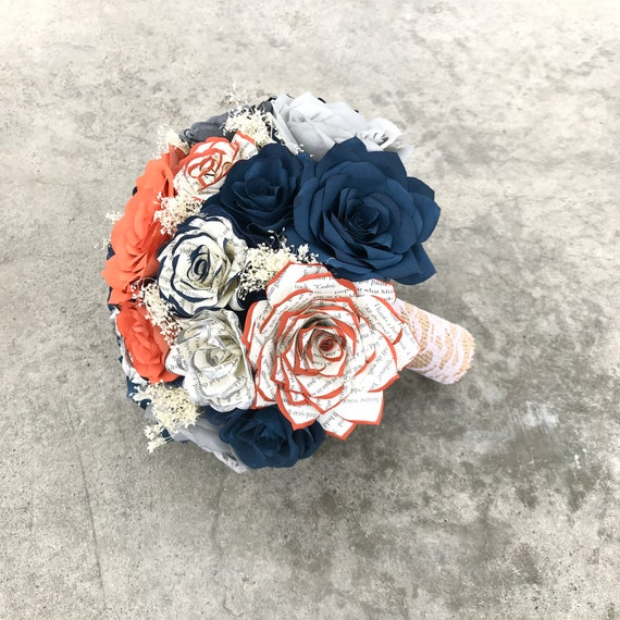 Burnt orange, navy blue, gray paper roses with tipped book page roses - Colors can be customized